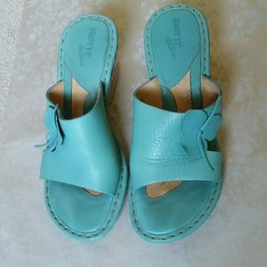 Born espadrille wedge sandals , turquoise leather